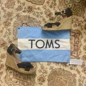 TOMS Black Espadrille/Wedge Sandals 6.5